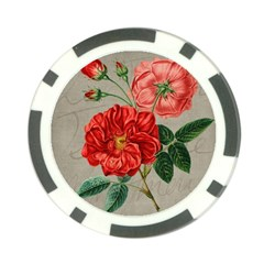 Flower Floral Background Red Rose Poker Chip Card Guard