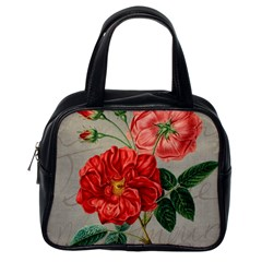 Flower Floral Background Red Rose Classic Handbags (one Side)