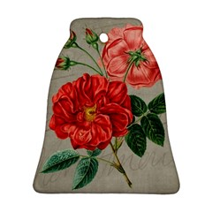Flower Floral Background Red Rose Bell Ornament (two Sides)