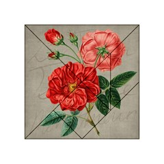 Flower Floral Background Red Rose Acrylic Tangram Puzzle (4  X 4 )