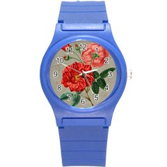 Flower Floral Background Red Rose Round Plastic Sport Watch (s)