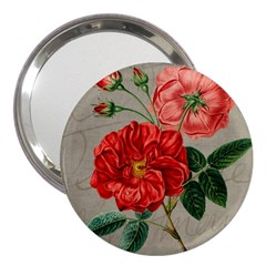 Flower Floral Background Red Rose 3  Handbag Mirrors