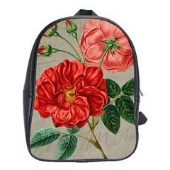 Flower Floral Background Red Rose School Bag (xl)