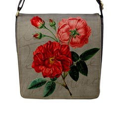 Flower Floral Background Red Rose Flap Messenger Bag (l)