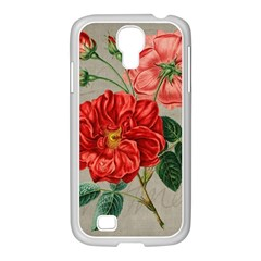 Flower Floral Background Red Rose Samsung Galaxy S4 I9500/ I9505 Case (white)