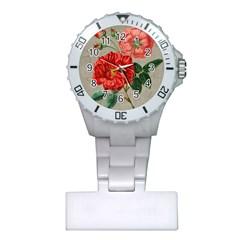 Flower Floral Background Red Rose Plastic Nurses Watch