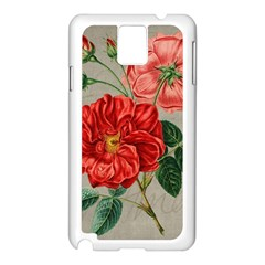 Flower Floral Background Red Rose Samsung Galaxy Note 3 N9005 Case (white)