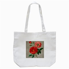 Flower Floral Background Red Rose Tote Bag (white)