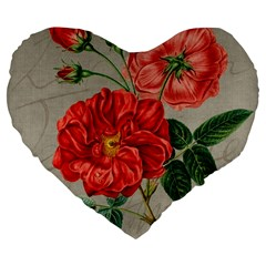 Flower Floral Background Red Rose Large 19  Premium Flano Heart Shape Cushions