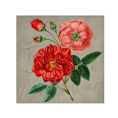 Flower Floral Background Red Rose Small Satin Scarf (square)
