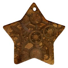 Background Steampunk Gears Grunge Ornament (star)