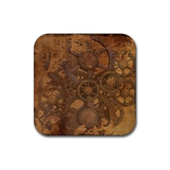 Background Steampunk Gears Grunge Rubber Coaster (square)