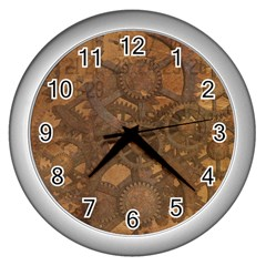 Background Steampunk Gears Grunge Wall Clocks (silver)  by Nexatart