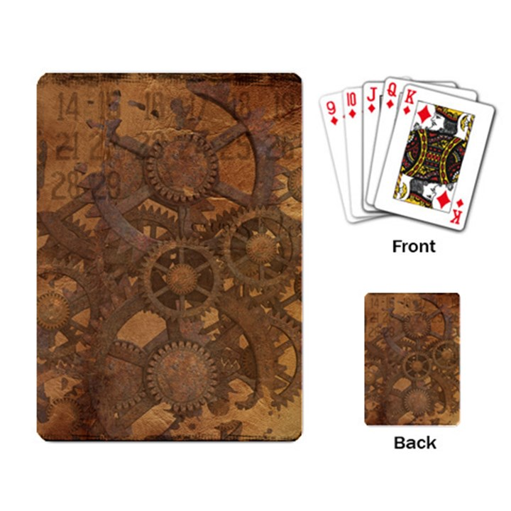 Background Steampunk Gears Grunge Playing Card