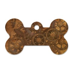 Background Steampunk Gears Grunge Dog Tag Bone (one Side)