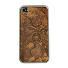 Background Steampunk Gears Grunge Apple Iphone 4 Case (clear)
