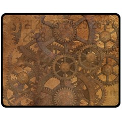 Background Steampunk Gears Grunge Double Sided Fleece Blanket (medium)