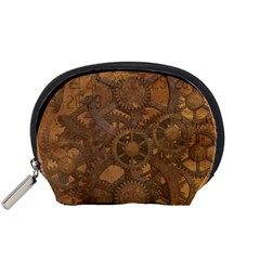Background Steampunk Gears Grunge Accessory Pouches (small)
