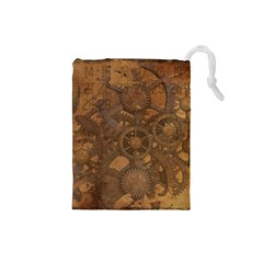 Background Steampunk Gears Grunge Drawstring Pouches (small)