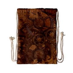 Background Steampunk Gears Grunge Drawstring Bag (small)
