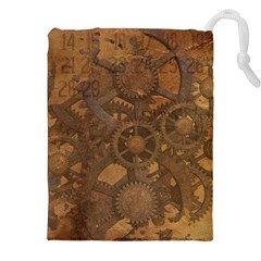 Background Steampunk Gears Grunge Drawstring Pouches (xxl)
