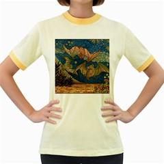 Bats Cubism Mosaic Vintage Women s Fitted Ringer T Shirts