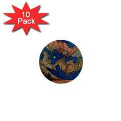 Bats Cubism Mosaic Vintage 1  Mini Buttons (10 Pack)
