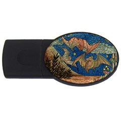 Bats Cubism Mosaic Vintage Usb Flash Drive Oval (2 Gb)