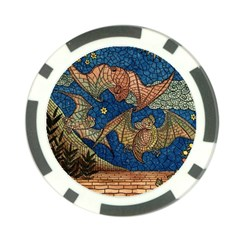 Bats Cubism Mosaic Vintage Poker Chip Card Guard (10 Pack)