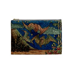 Bats Cubism Mosaic Vintage Cosmetic Bag (medium)