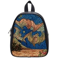 Bats Cubism Mosaic Vintage School Bag (small) by Nexatart