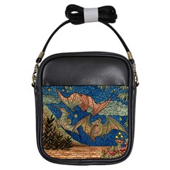 Bats Cubism Mosaic Vintage Girls Sling Bags