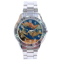 Bats Cubism Mosaic Vintage Stainless Steel Analogue Watch