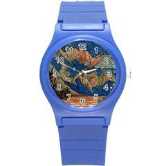 Bats Cubism Mosaic Vintage Round Plastic Sport Watch (s)