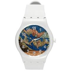 Bats Cubism Mosaic Vintage Round Plastic Sport Watch (m)