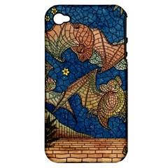 Bats Cubism Mosaic Vintage Apple Iphone 4/4s Hardshell Case (pc+silicone)