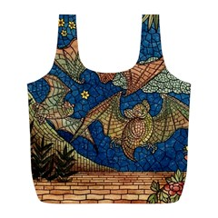 Bats Cubism Mosaic Vintage Full Print Recycle Bags (l)  by Nexatart