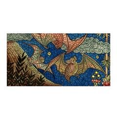 Bats Cubism Mosaic Vintage Satin Wrap