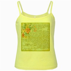 Vintage Floral Background Paper Yellow Spaghetti Tank