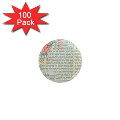 Vintage Floral Background Paper 1  Mini Magnets (100 Pack)