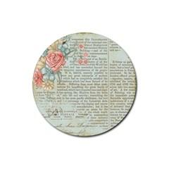 Vintage Floral Background Paper Rubber Round Coaster (4 Pack)