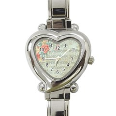 Vintage Floral Background Paper Heart Italian Charm Watch