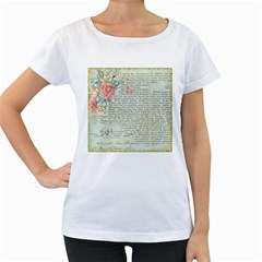 Vintage Floral Background Paper Women s Loose Fit T Shirt (white)