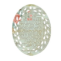Vintage Floral Background Paper Oval Filigree Ornament (two Sides)