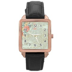 Vintage Floral Background Paper Rose Gold Leather Watch