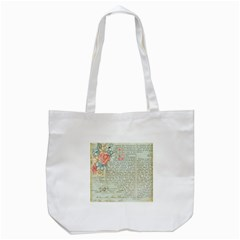 Vintage Floral Background Paper Tote Bag (white) by Nexatart