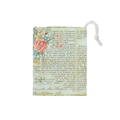 Vintage Floral Background Paper Drawstring Pouches (small)