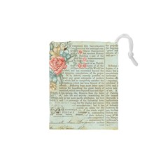 Vintage Floral Background Paper Drawstring Pouches (xs)