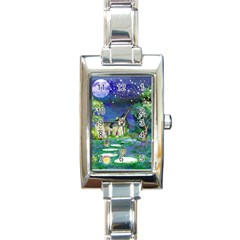 Background Fairy Tale Watercolor Rectangle Italian Charm Watch