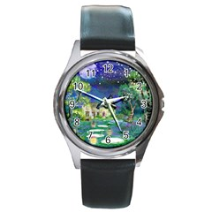 Background Fairy Tale Watercolor Round Metal Watch